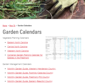 Screenshot Garden Calendar Page