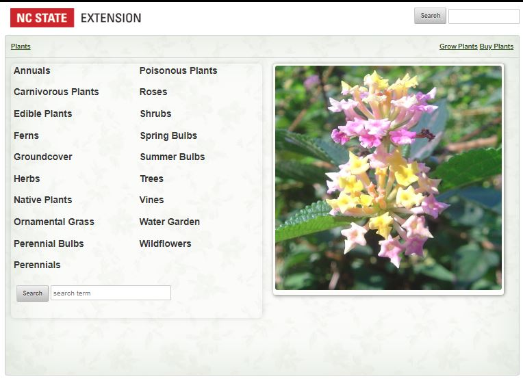 Plant database screen image