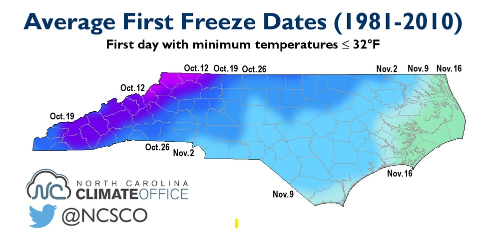 Map of Freeze Dates for NC State Universtiy