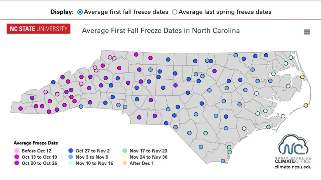 Interactive map for first and last freeze dates