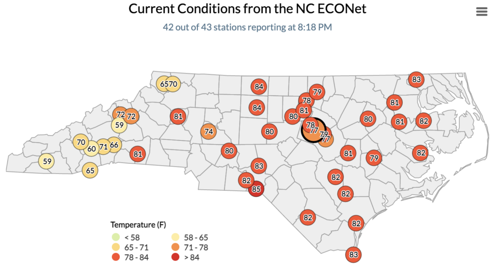 Screenshot of NC ECONet map