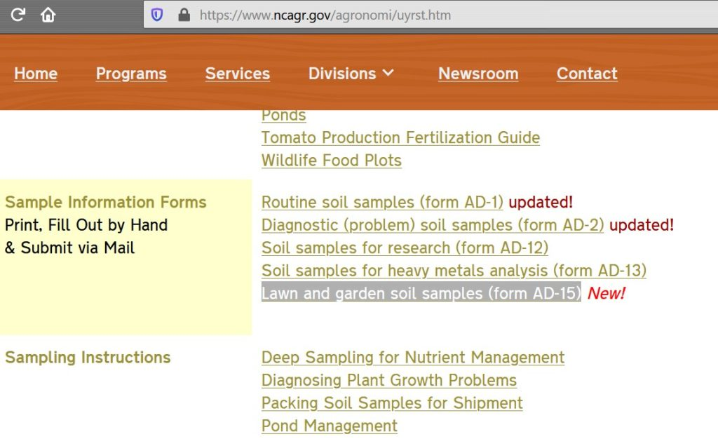 NCDA Soil Testing website