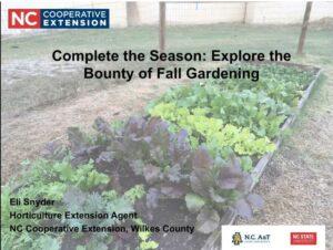 Cover slide for fall gardeing video