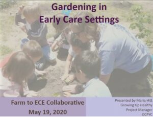 Cover slide of video garden with young children